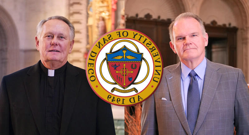 Tiled imasge of President James Harris and Monsignor Daniel Dillabough